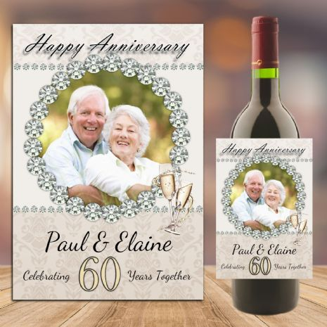 Personalised Diamond 60th Wedding Anniversary PHOTO Wine / Champagne Bottle Label N92